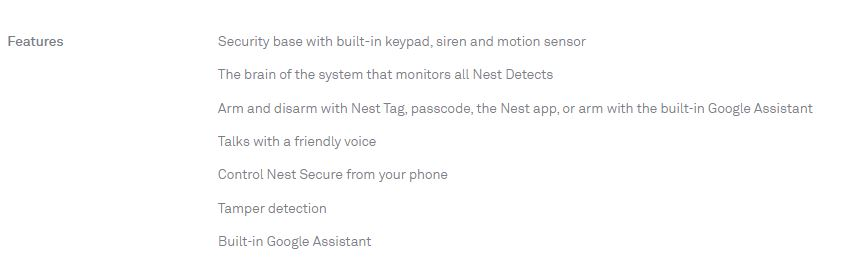 Nest Guard Specifications