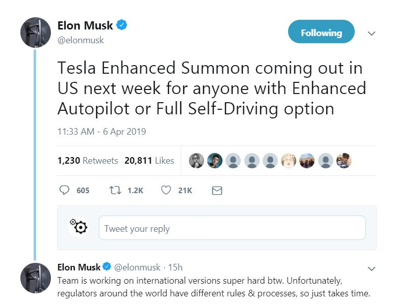 tesla enhanced summon