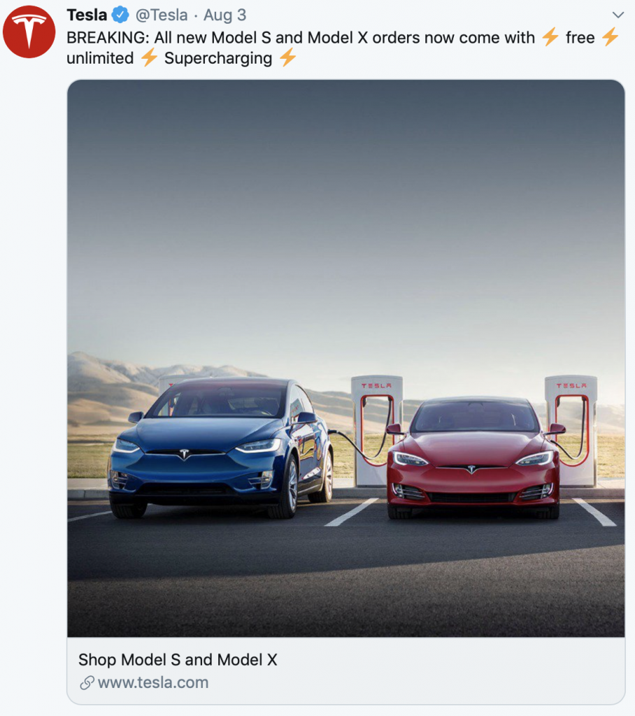 Tesla free unlimited supercharging
